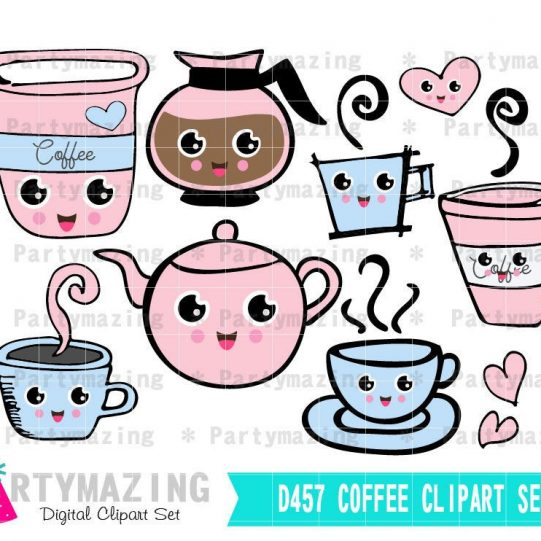 Morning Coffee Clipart Set | Hand-drawn Digital Image Set | Digital Planner Graphic Set with Transparent Background | E456