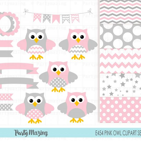 Pink Owl Clipart Set | Pink and Gray Shower | Baby Shower or Nursery Clipart Set including Matching Paper Pack | PK01 | E454