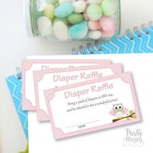 Pink Owl Diaper Raffle Printable File | Cute Baby shower Cards | Shower Diaper Game | PK01 | E453