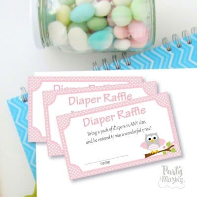 Pink Owl Diaper Raffle Printable File | Cute Baby shower Cards | Shower Diaper Game | PK01 | E453