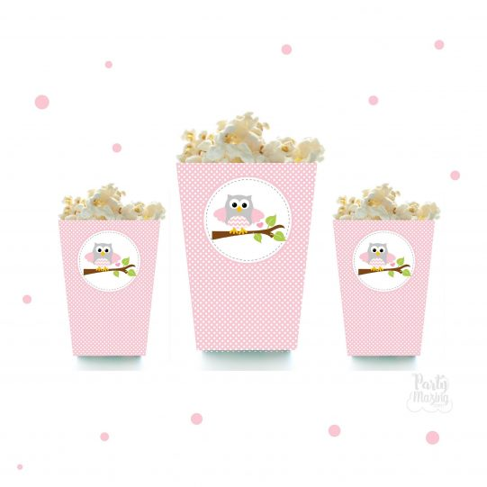Pink Owl Popcorn Box Printable File  Cute Baby shower Box With Svg Cutting File   PK01   E352
