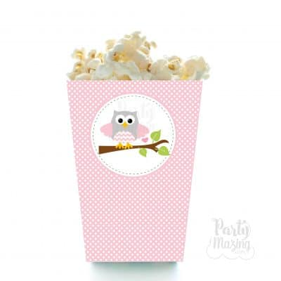 Pink Owl Popcorn Box Printable File| Cute Baby shower Box With Svg Cutting File | PK01 | E451