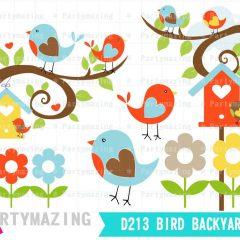 Spring Birds Clipart Set   Digital Image Set   Digital Planner Graphic Set with Transparent Background   E455