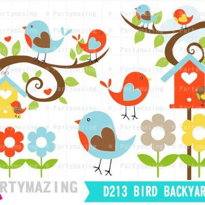 Spring Birds Clipart Set | Digital Image Set | Digital Planner Graphic Set with Transparent Background | E455