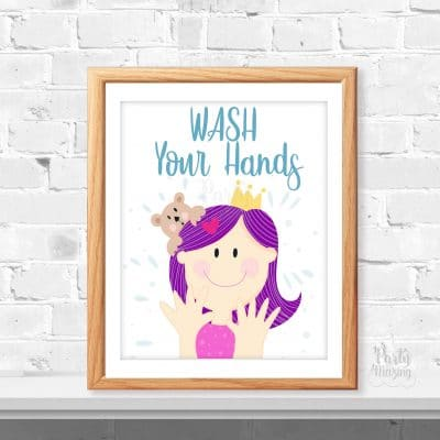 Wash Your Hands Girl Sign | Cute Printable Hand-Drawn Sign Print | Bathroom Reminder Sign for Kids| Drawing Sign | E450