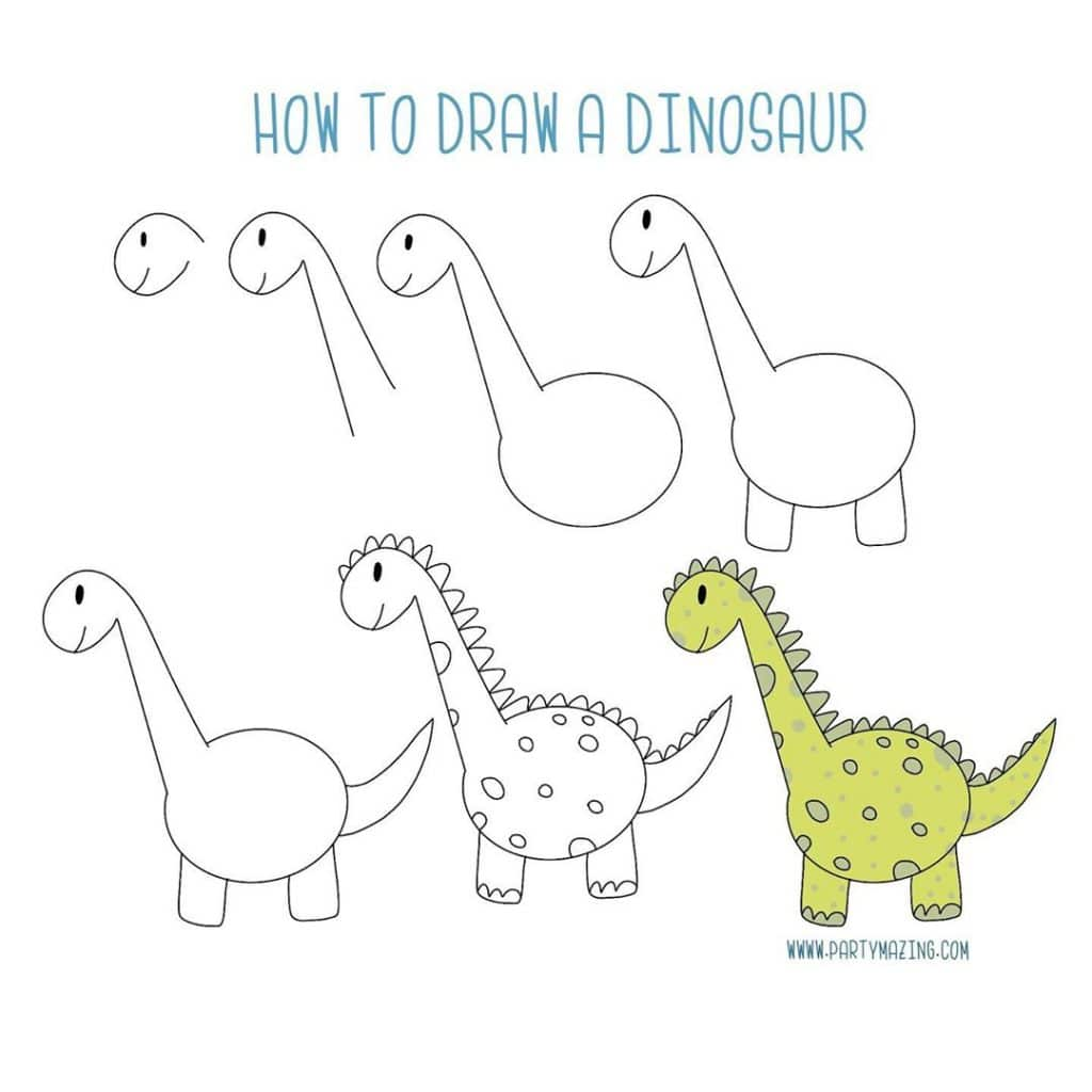 Want to learn how to doodle a cute Dino? +17 DOODLE ART IDEAS FOR KIDS AND BULLET JOURNAL - Learn how to create basic doodles for your kids or for your planner. Enjoy!
