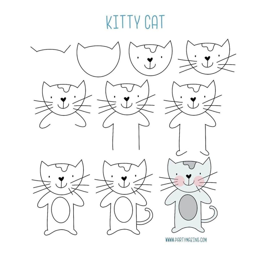 Want to learn how to doodle a cute cat? +17 DOODLE ART IDEAS FOR KIDS AND BULLET JOURNAL - Learn how to create basic doodles for your kids or for your planner. Enjoy!