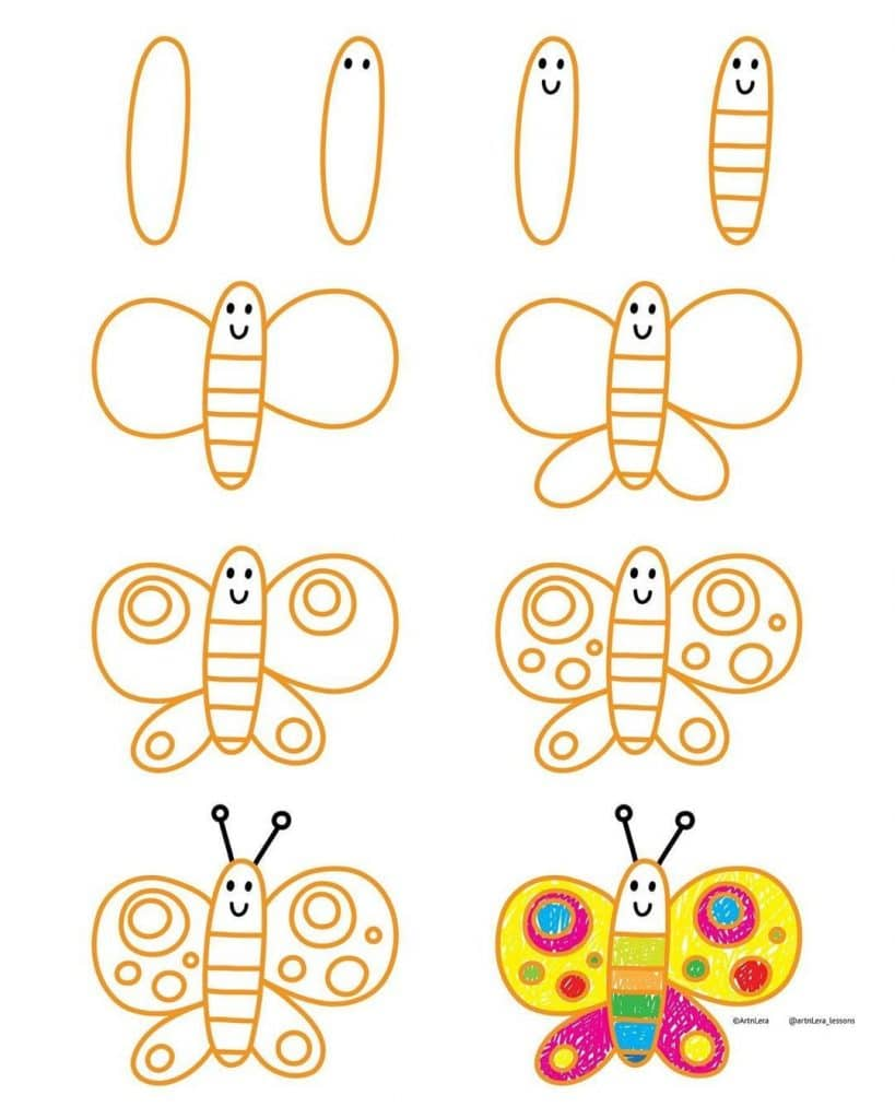 Want to learn how to doodle a cute butterfly? +17 DOODLE ART IDEAS FOR KIDS AND BULLET JOURNAL - Learn how to create basic doodles for your kids or for your planner. Enjoy!