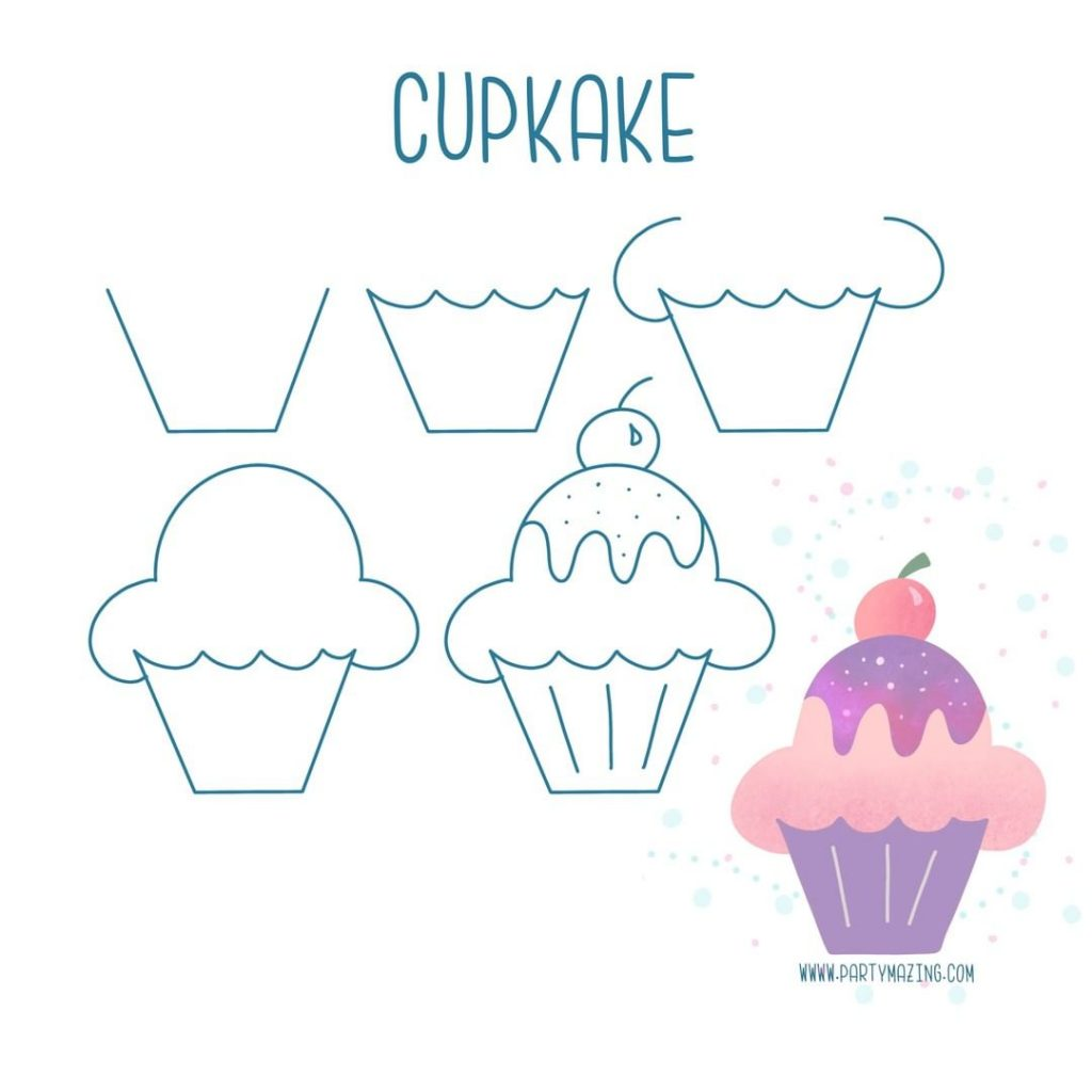 Want to learn how to doodle a cute cupcake? +17 DOODLE ART IDEAS FOR KIDS AND BULLET JOURNAL - Learn how to create basic doodles for your kids or for your planner. Enjoy!