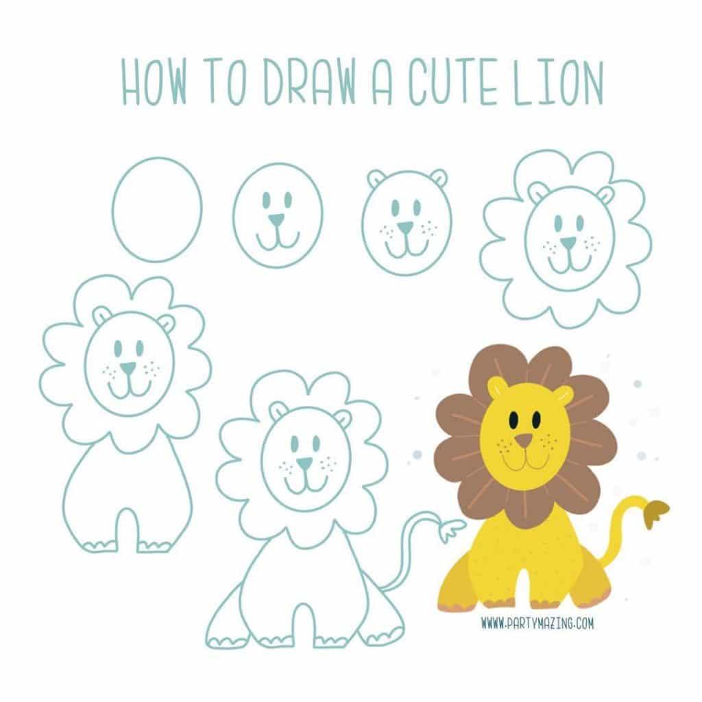 Want to learn how to doodle a cute lion? +17 DOODLE ART IDEAS FOR KIDS AND BULLET JOURNAL - Learn how to create basic doodles for your kids or for your planner. Enjoy!