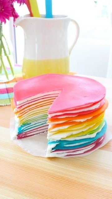 RAINBOW PANCAKES - Time to add some color to your table or your kids party. A Rainbow is waiting for you. I curated a list of colorful food to inspire your party.