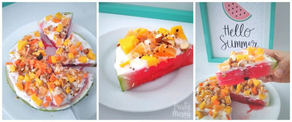 SUMMER FOOD WATERMELON PIZZA RECIPE - Learn how to do this easy recipe for your kids, healthy, fun, and very satisfying! For more o these visit www.partymazing.com