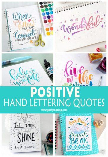 Positive Hand Lettering Motivational Qoutes