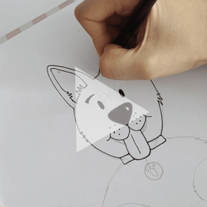 Dog Ink Custom Portrait Drawing Process – Video