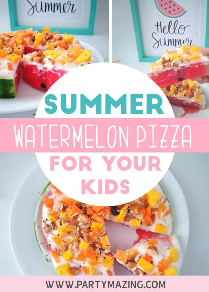 SUMMER FOOD WATERMELON PIZZA RECIPE - Learn how to do this easy recipe for your kids, healthy, fun and very satisfying! For more o these visit www.partymazing.com