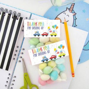 Printable Birthday Parade Bag Topper | Driving By Treat Bag Party Favors | PK51 | E275