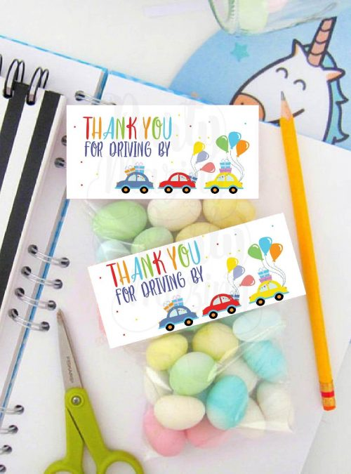 Birthday Parade Bag Topper | Printable Driving By Treat Bag Toppers | Thank You Party Favors | PK09 | E275