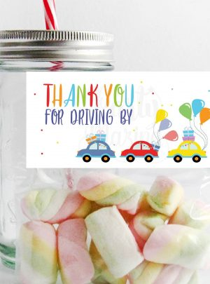 Driving By Printable Birthday Parade Bag Topper E275