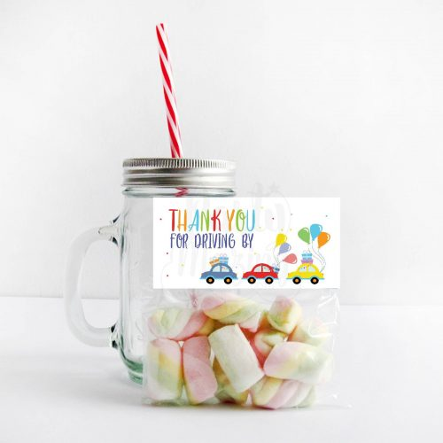 Birthday Parade Bag Topper   Printable Driving By Treat Bag Toppers   Thank You Party Favors   PK09   E275