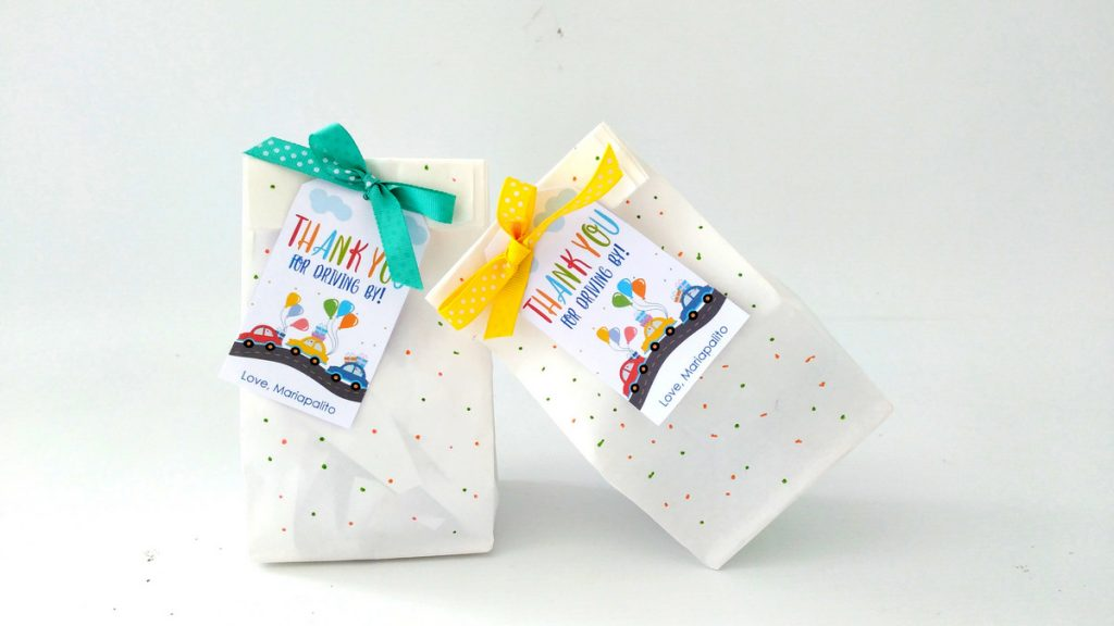 Party favor bags - Here some ideas for your Drive-by Birthday Parade Party. Time to celebrate outside and from your car. #drivebyparty #drivebybirthday