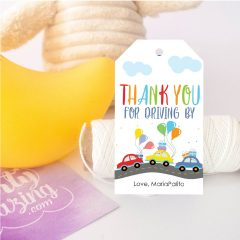 Printable Drive By Birthday Party Parade Tag | Hand-Drawin Social Distancing Tag | PK51 | E115
