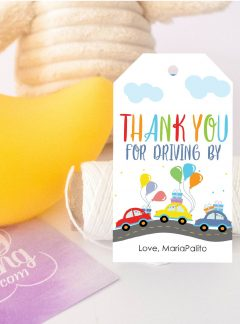 Drive By Birthday Parade Printable Favor Tag E115