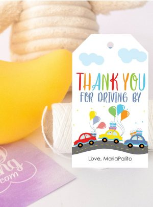 Drive By Birthday Parade Printable Favor Tag E115