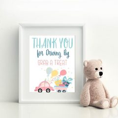 Printable Drive By Birthday Parade Sign | Thank You Treat Favor Sign | PK51 | E019