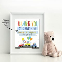 Printable Drive By Birthday Parade Sign | Editable 8×10 Thank You Treat Favor Sign | PK51 | E352