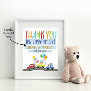 Printable Drive By Birthday Parade Sign | Editable 8×10 Thank You Treat Favor Sign | PK51 | E352