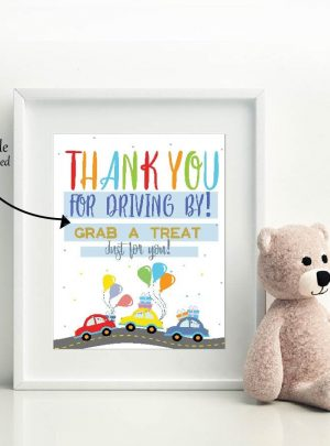 Printable Drive By Birthday Parade Favors Sign E352