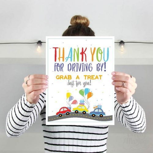 Drive By Sign   Printable Birthday Parade Sign   Editable 8x10 sign   Thank You Treat Favor Sign    Quarantine Party   PK09   E352