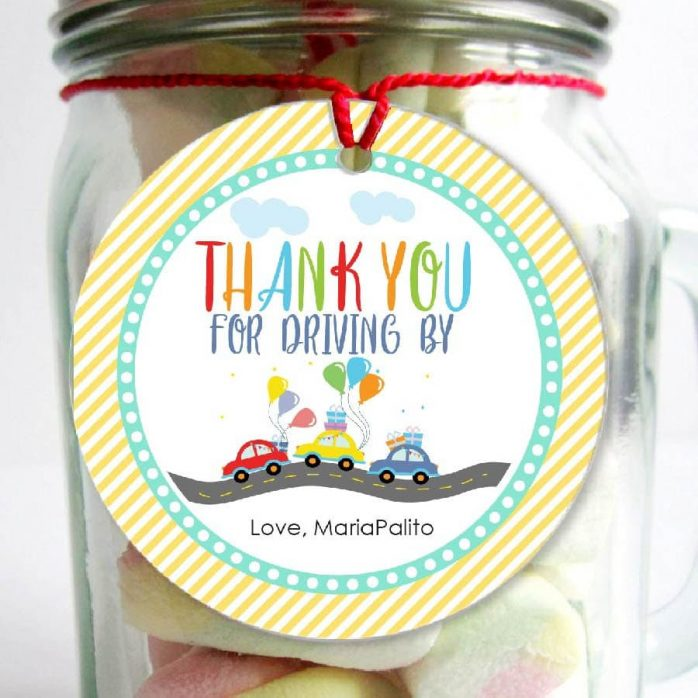 Driving Parade Stickers   Printable Hand-drawn Thank You Gift Tag   Editable Driving By Favor Tag   PK51   E000