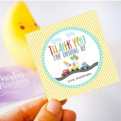 Driving Parade Stickers | Printable Hand-drawn Thank You Gift Tag | Editable Driving By Favor Tag | PK51 | E500