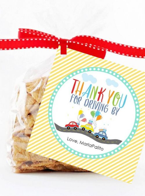 Driving Parade Stickers | Printable Hand-drawn Thank You Gift Tag | Editable Driving By Favor Tag | PK51 | E000