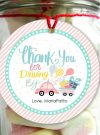 Hand-drawn Thank You Tag | Printable Driving Parade Gift Tag | Editable Thank You for Driving By Favor Tag | PK09 | E259