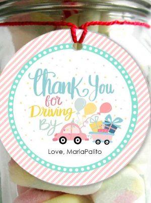 Drive By Birthday Parade Printable Favor Tag E259