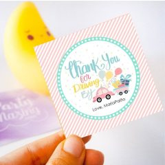 Printable Drive By Birthday Parade Gift Tag | Hand-Drawn Editable Thank You Favor Tag | PK51 | E259