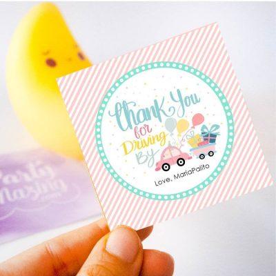 Printable Drive By Birthday Parade Gift Tag | Hand-Drawn Editable Thank You Favor Tag | PK51 | E259