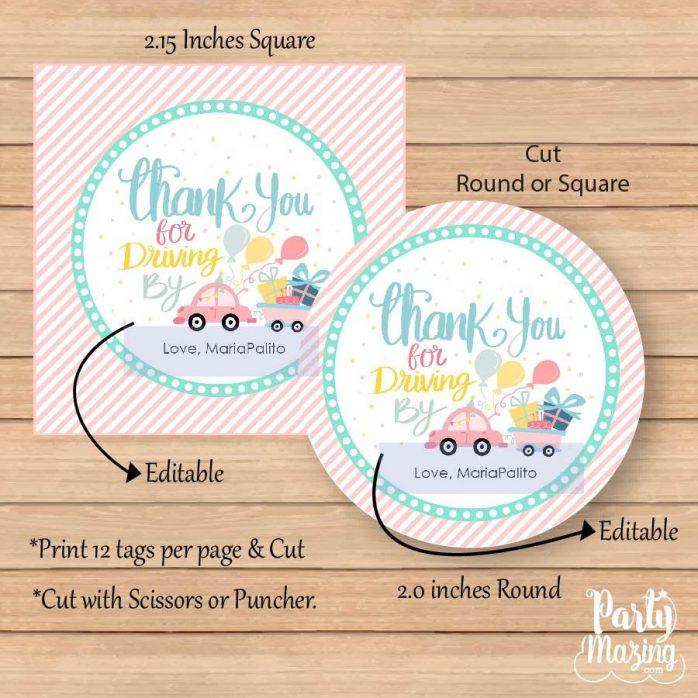 Hand-drawn Thank You Tag | Printable Driving Parade Gift Tag | Editable Thank You for Driving By Favor Tag | PK09 | E259