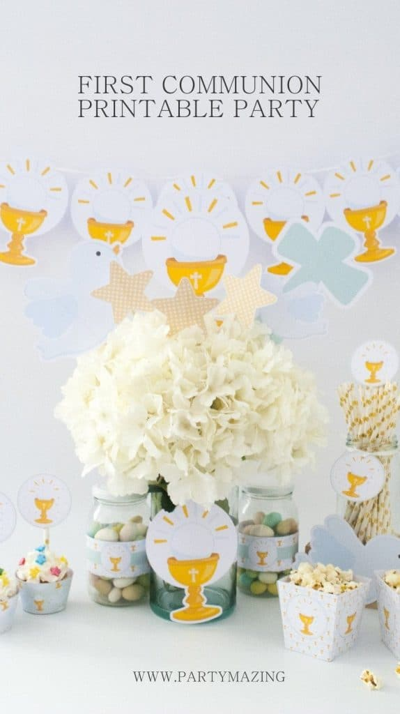 DIY Paper Decor. Girl First Communion Party Ideas and Templates to make an amazing Party. Get inspired to create your own unforgettable celebration for your little girl.
