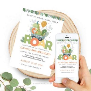 Dino Drive By Invitation | Roar Digital evite or printable Dinosaur Invitation | PK17 | E438