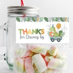 Dino Drive By Bag Topper | Printable Thank You Treat Tags | PK17 | E458