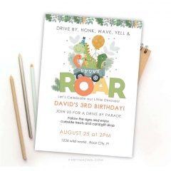 Dino Drive By Invitation | Roar Digital evite or printable Dinosaur Invitation | PK17 | E438