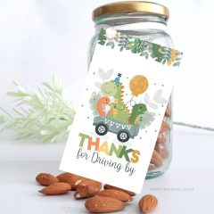 Dino Driving by Gift Tag | Printable Hand Drawn Dinosaur Thank You Gift Party Tag | PK17 | E452