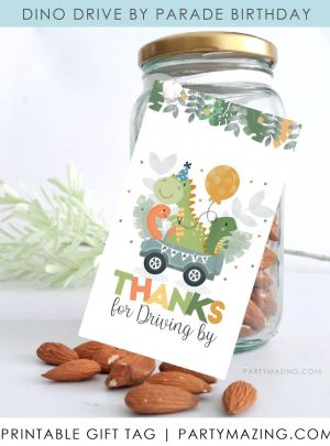 Dinosaur Driving by Printable Favor Tag E452
