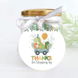 Dino Driving Parade Gift Tag | Hand-drawn Printable Thank You Tag | PK17 | E290