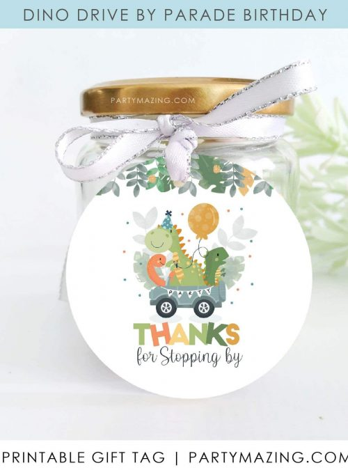 Dino Driving Parade Gift Tag   Hand-drawn Printable Thank You Tag   2.5 Thank You for Driving By Favor Tag   PK25   E290
