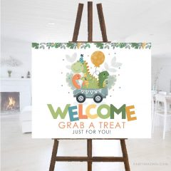 Dino Take a Treat Welcome Sign| Printable Sign | PK17 |E460
