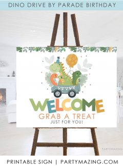 Dinosaur Take a Treat Printable Welcome Sign E460
